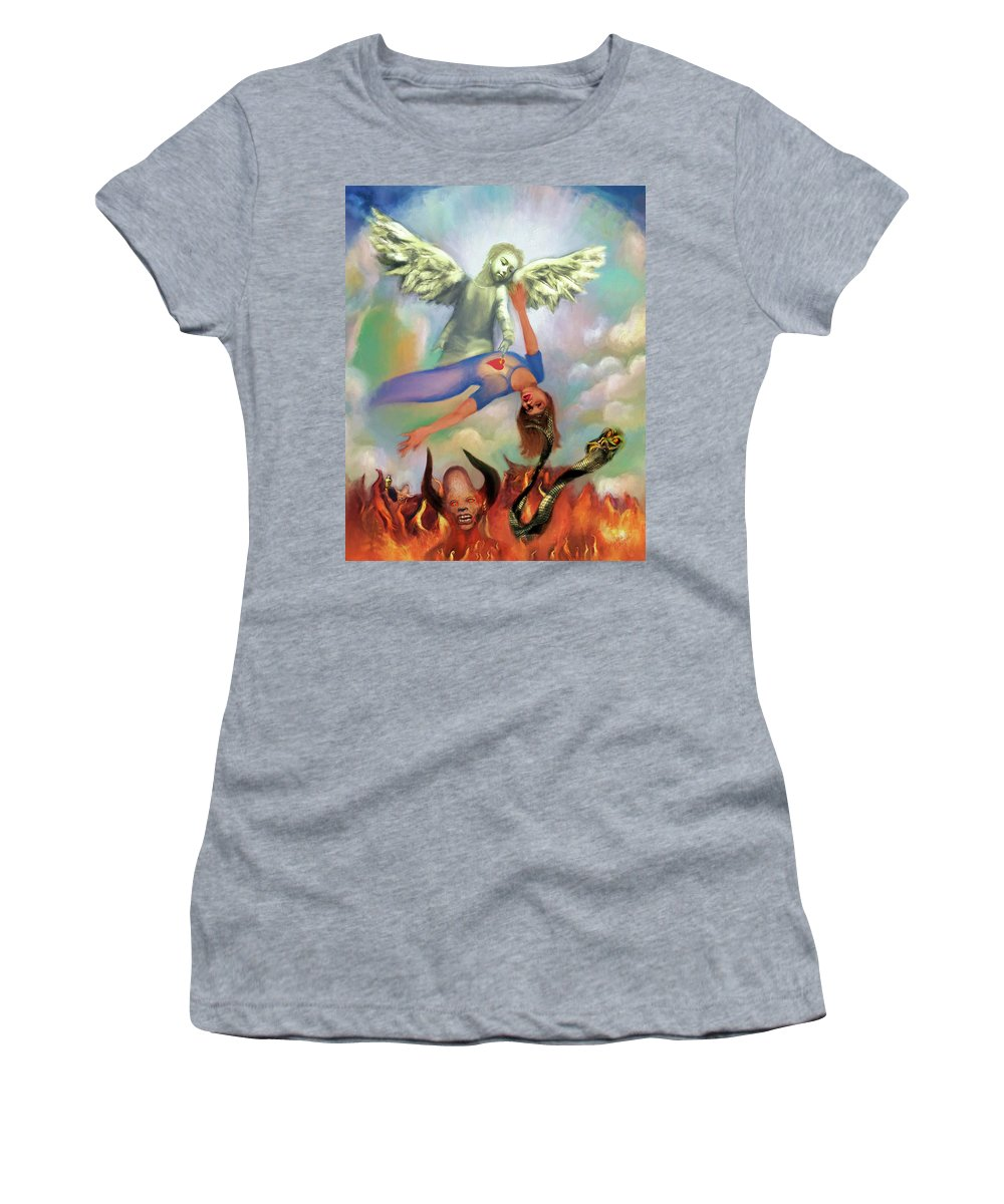 Spiritual Warfare Women's T-Shirt featuring the painting Spiritual Warfare Of Heart And Mind by Susanna Katherine