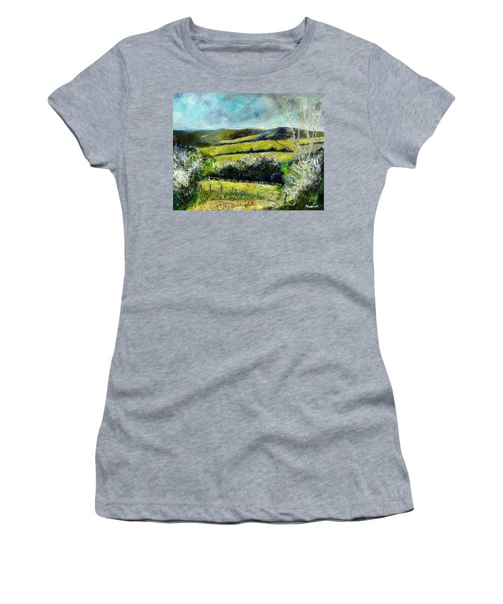 Landscape Women's T-Shirt featuring the print Spring 79 by Pol Ledent