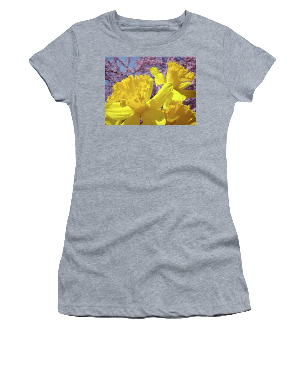 Flowers Women's T-Shirt featuring the photograph Spring Art Prints Yellow Daffodils Flowers Pink Blossoms Baslee Troutman by Baslee Troutman