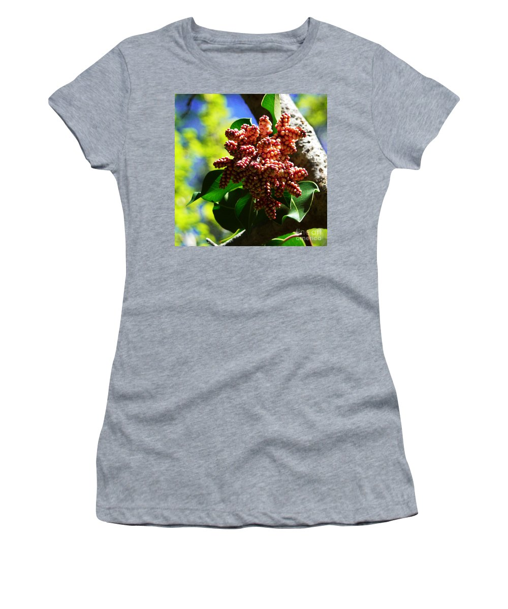 Sea Grapes Women's T-Shirt (Athletic Fit) featuring the photograph Spring Blossom 1 by Xueling Zou