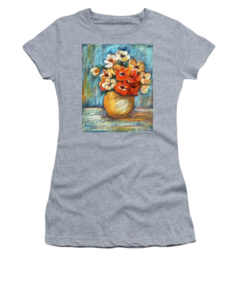 Stilllife Women's T-Shirt featuring the drawing Spring Bouquet by Portraits By NC