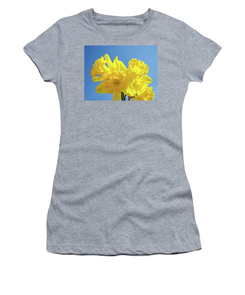 Spring Women's T-Shirt (Athletic Fit) featuring the photograph Spring Daffodils Flowers Garden Blue Sky Baslee Troutman by Baslee Troutman