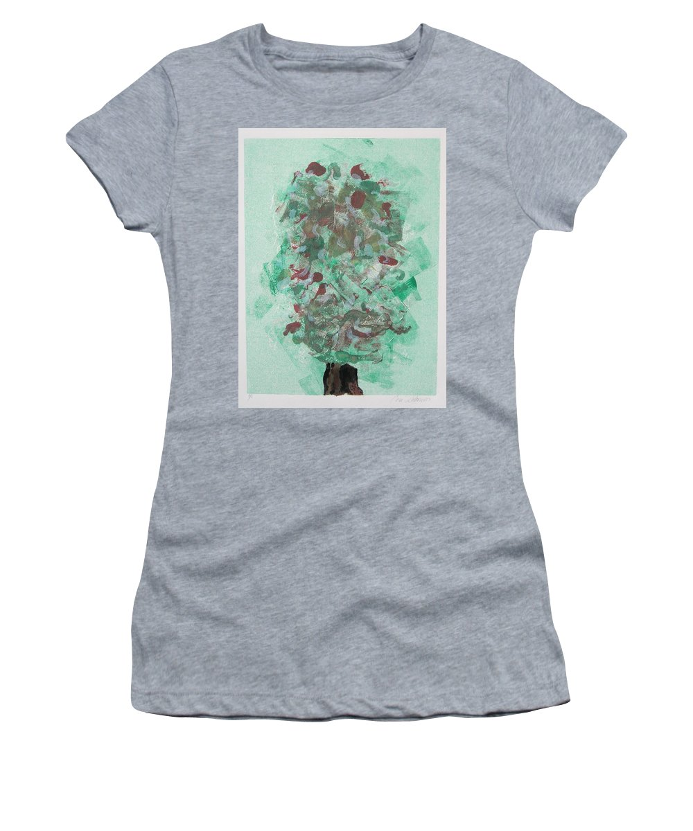 Monoprint Women's T-Shirt featuring the mixed media Spring Interlude by Cori Solomon