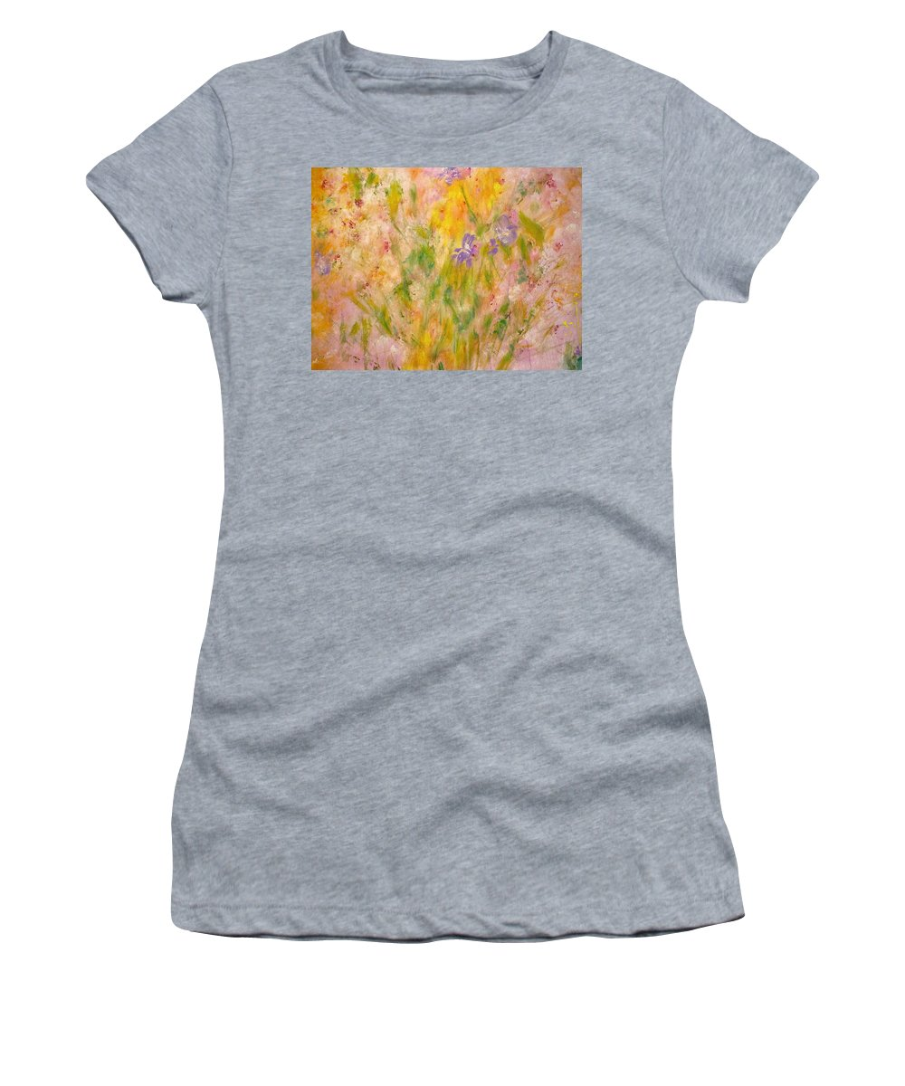 Spring Meadow Women's T-Shirt featuring the painting Spring Meadow by Claire Bull