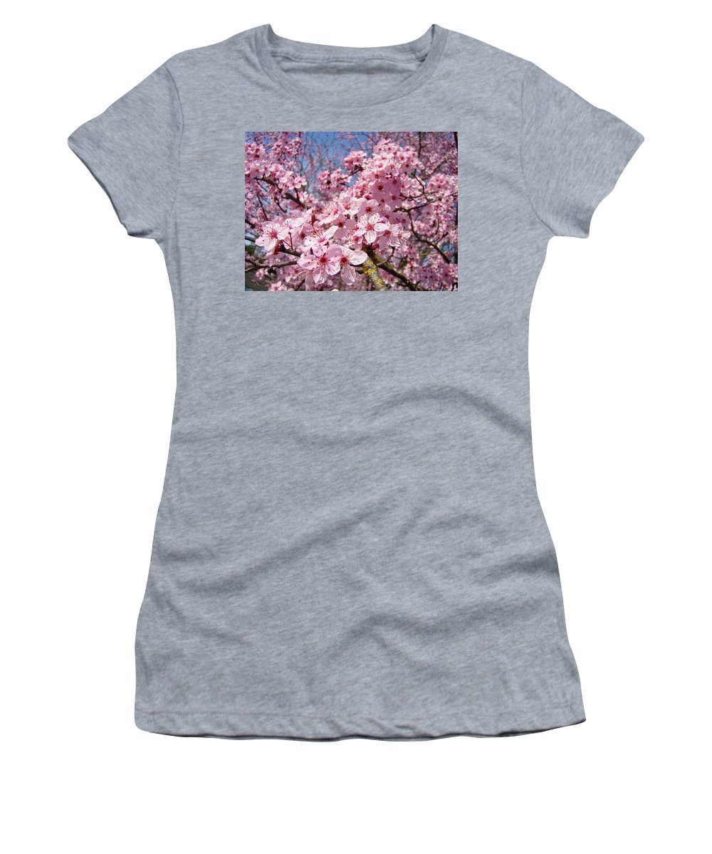 Colorful Women's T-Shirt (Athletic Fit) featuring the photograph Spring Pink Tree Blossoms Art Print Baslee Troutman by Baslee Troutman