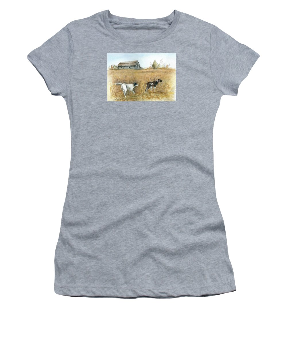 Springfield Women's T-Shirt (Athletic Fit) featuring the painting Springfield Bird Dogs by Robin Martin Parrish