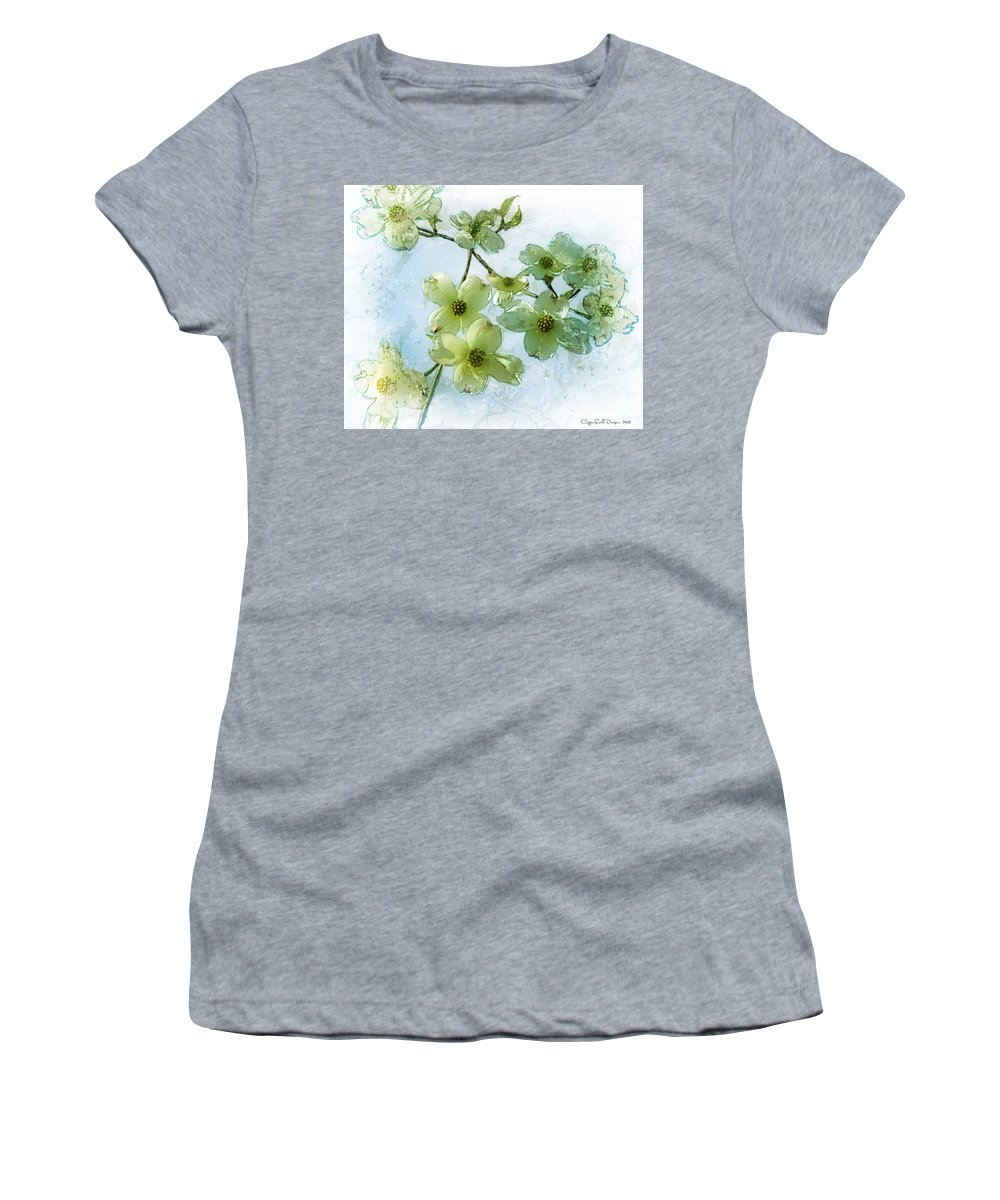 Photomanipulation Women's T-Shirt featuring the digital art Sprintime In Our Back Yard by Jane Spaulding