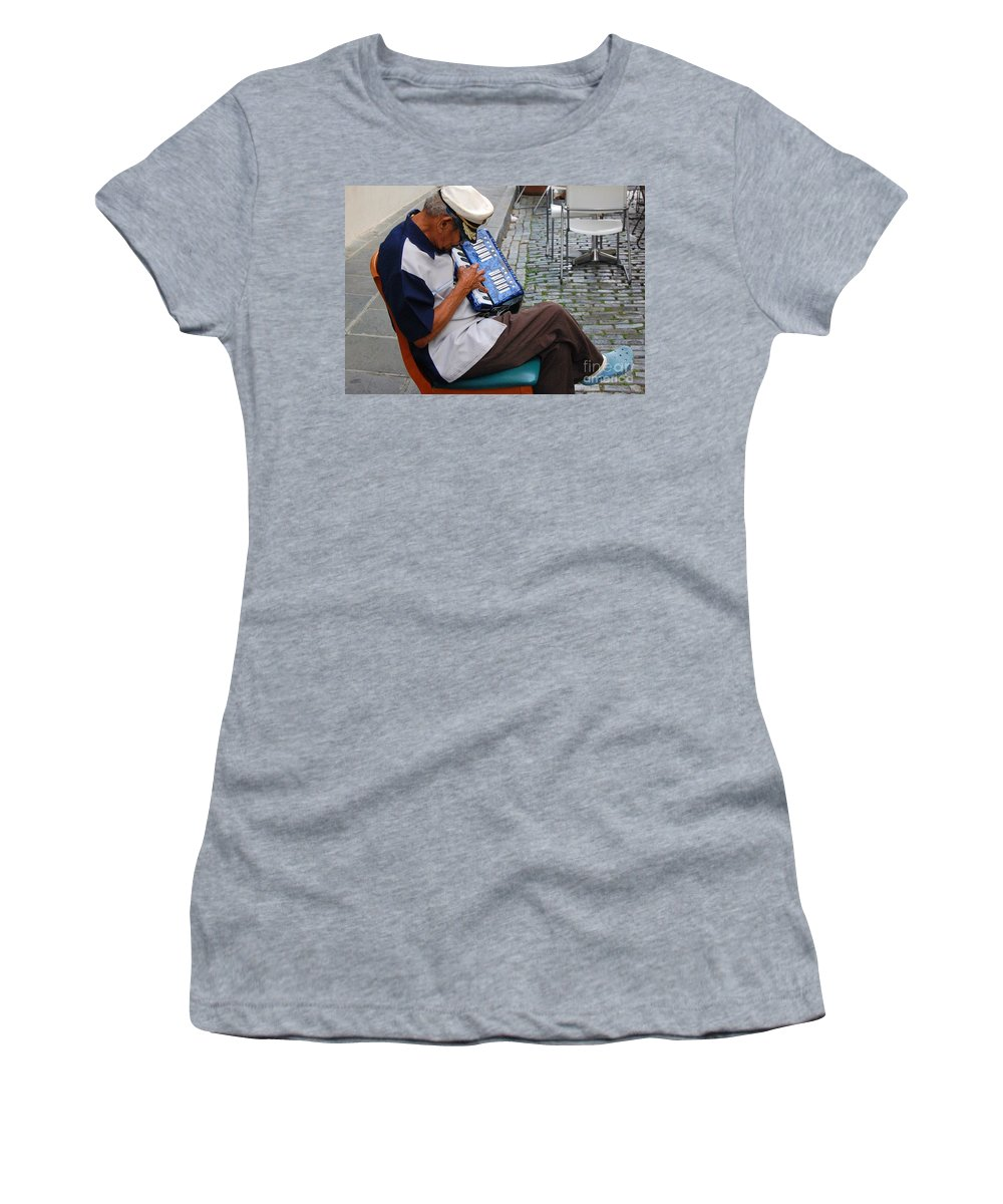 People Women's T-Shirt (Athletic Fit) featuring the photograph Squeeze Box by Debbi Granruth