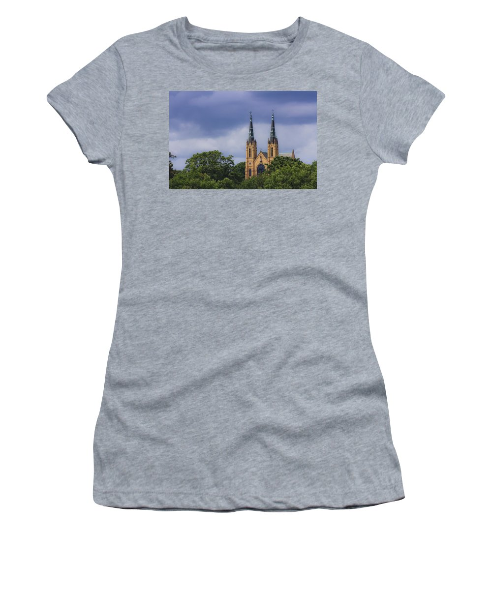 Saint Women's T-Shirt (Athletic Fit) featuring the photograph St Andrews Catholic Church Roanoke Virginia by Teresa Mucha