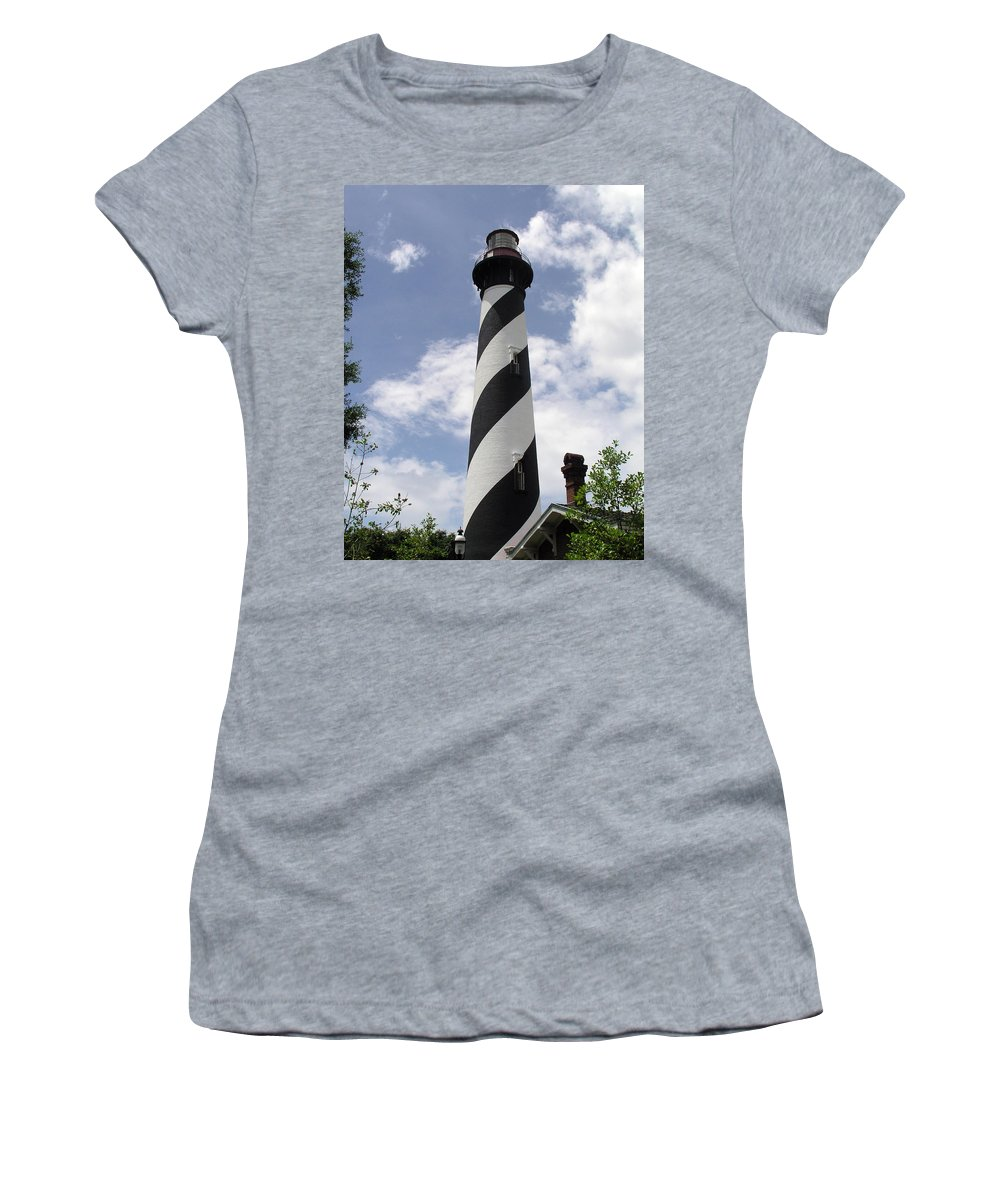 Lighthouse; Light; House; Keeper; St. Augustine; Florida; Coast; Shine; Fog; Storms; U.s.; Coast; Gu Women's T-Shirt (Athletic Fit) featuring the photograph St Augustine Florida Light by Allan Hughes