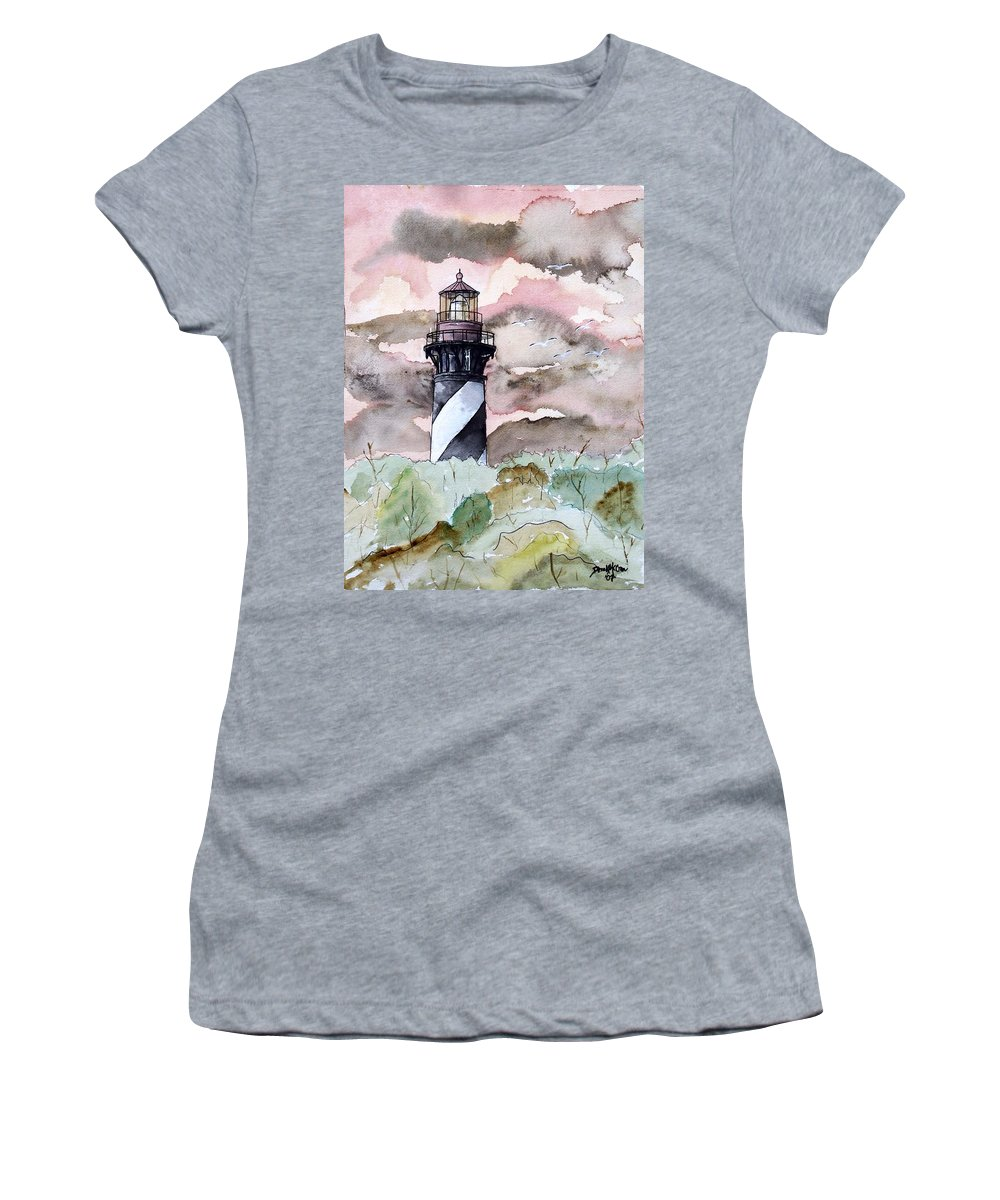 Lighthouse Women's T-Shirt (Athletic Fit) featuring the painting St Augustine Lighthouse by Derek Mccrea