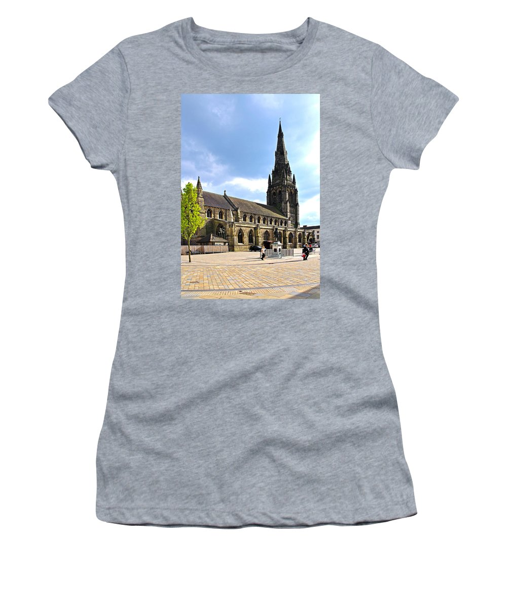 James Boswell Women's T-Shirt (Athletic Fit) featuring the photograph St Mary's Church At Lichfield by Rod Johnson