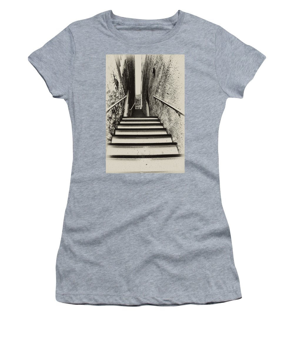 Harpers Ferry Women's T-Shirt (Athletic Fit) featuring the photograph Stairs At Harpers Ferry by Bill Cannon