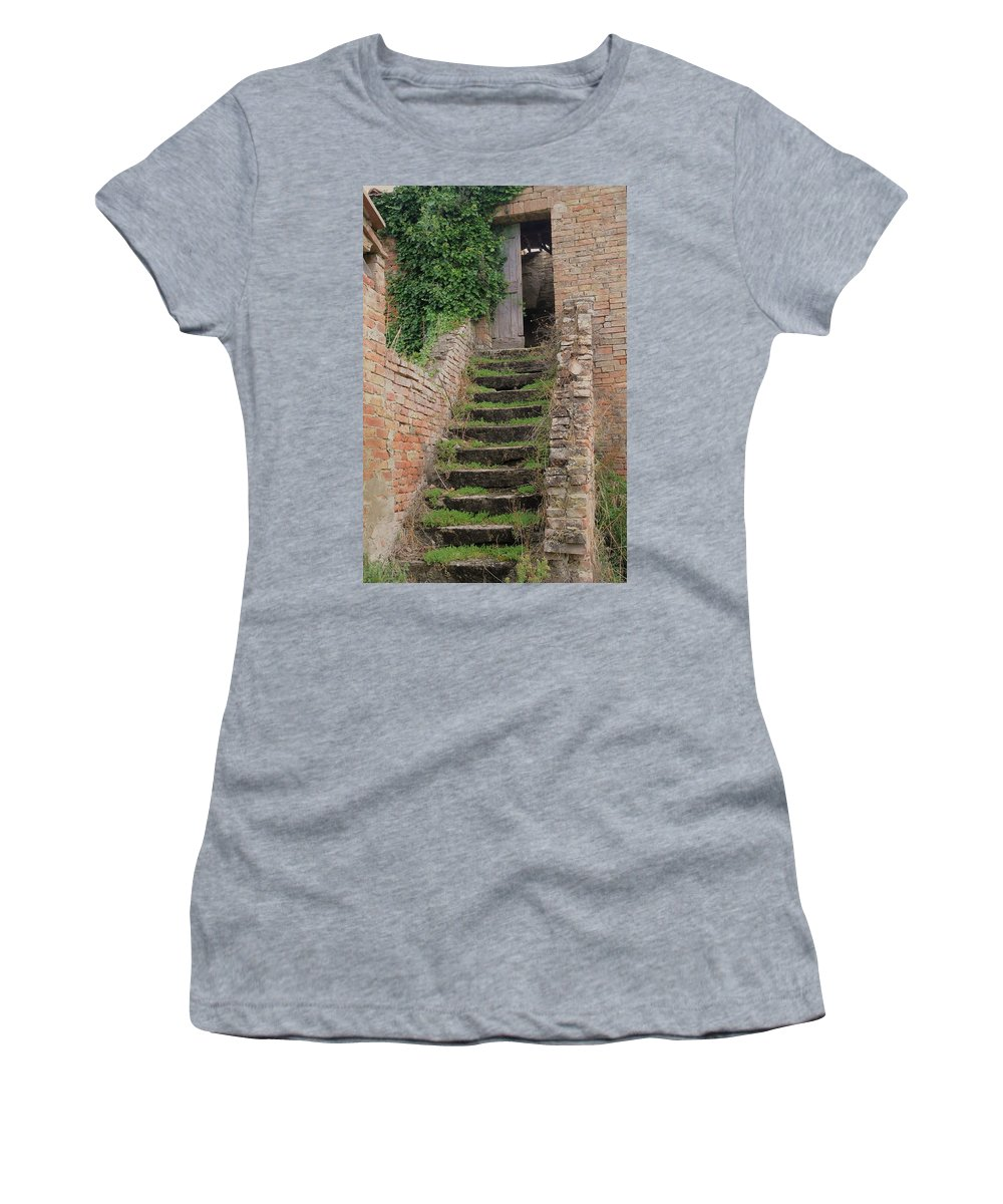 Europe Women's T-Shirt (Athletic Fit) featuring the photograph Stairway Less Traveled by Jim Benest