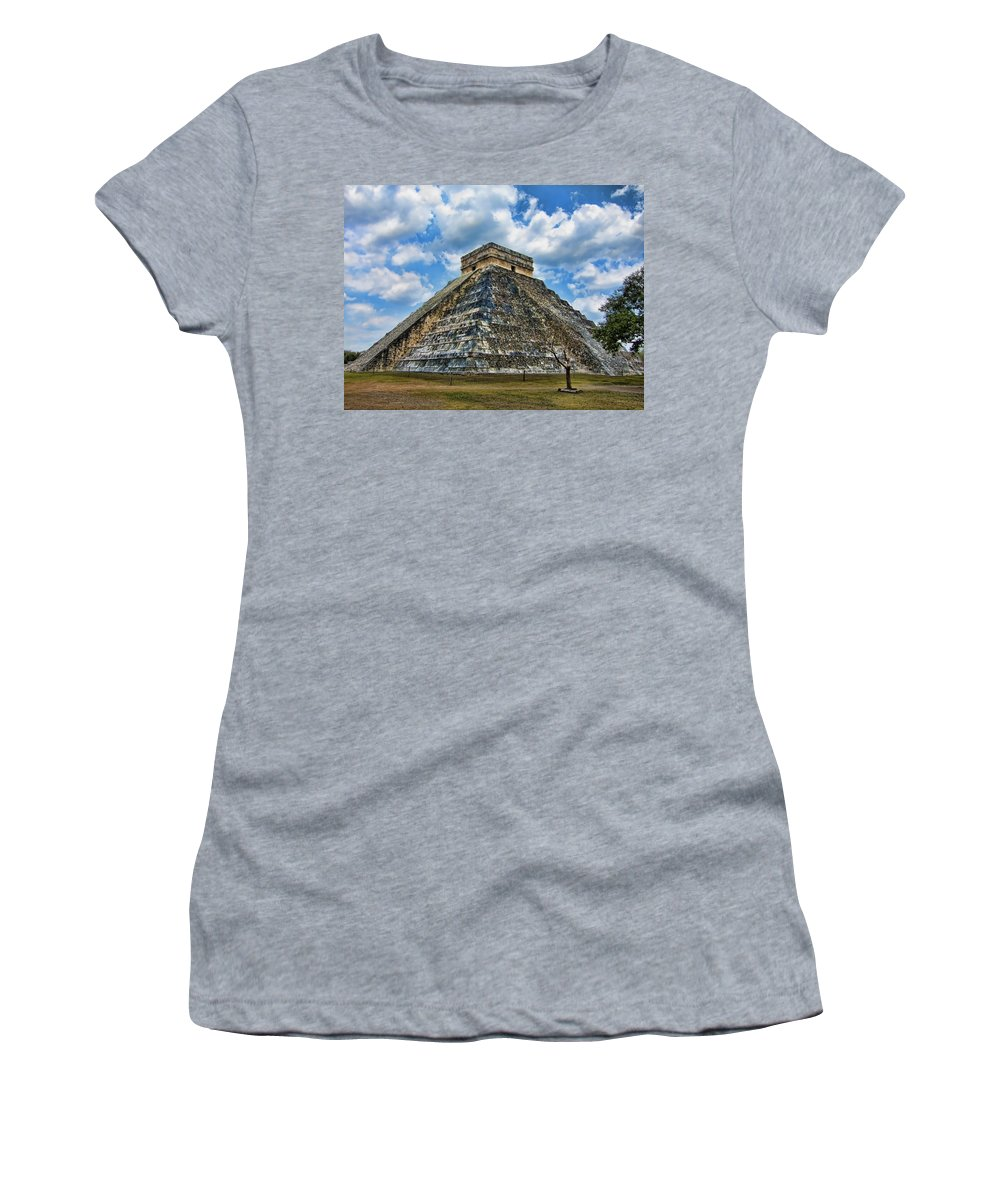 Chichen Itza Women's T-Shirt featuring the photograph Stairway To Infinity by Douglas Barnard