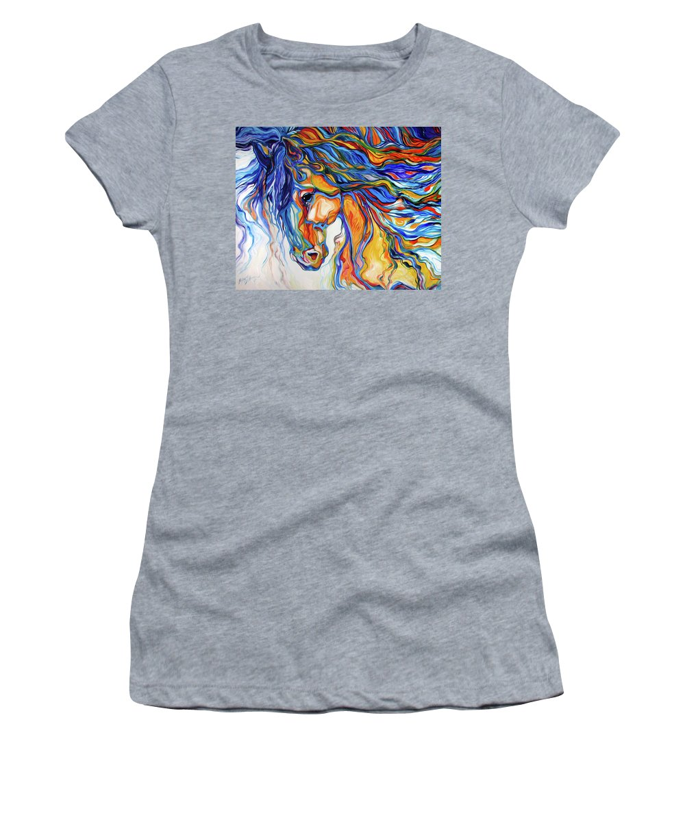 Equine Women's T-Shirt featuring the painting STALLION SOUTHWEST by M BALDWIN by Marcia Baldwin