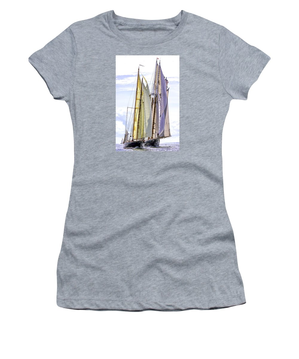 Amistad Women's T-Shirt (Athletic Fit) featuring the photograph Stately Mariners by Joe Geraci