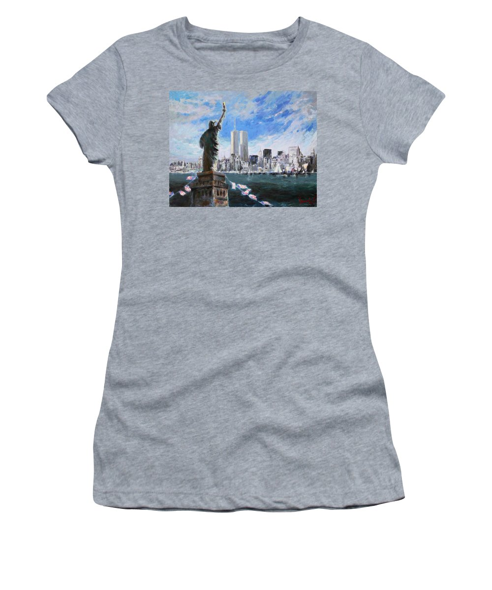 Landscape Women's T-Shirt featuring the painting Statue Of Liberty And Tween Towers by Ylli Haruni