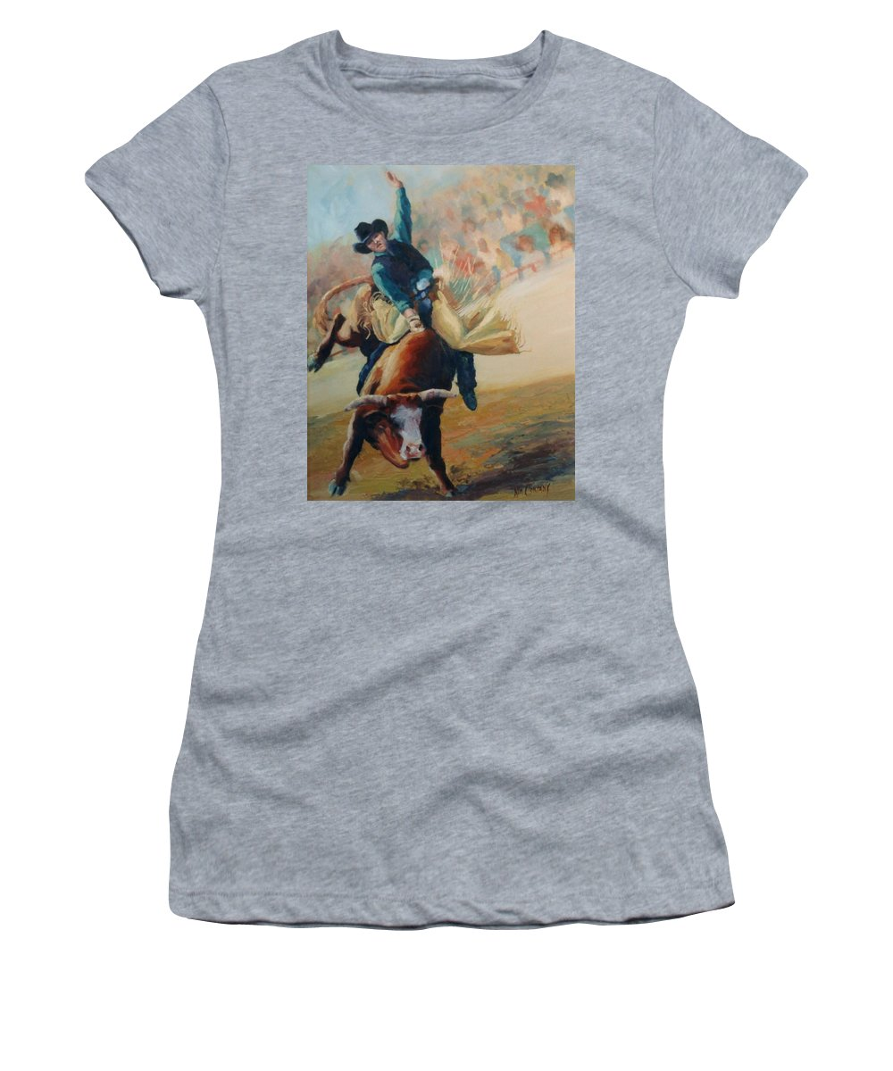 Bull Women's T-Shirt (Athletic Fit) featuring the painting Staying In The Middle Rodeo Bucking Bull by Kim Corpany