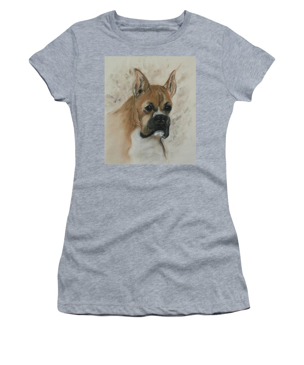 Dog Women's T-Shirt featuring the drawing Steady Goes It by Cori Solomon