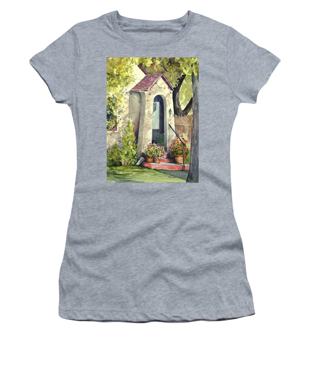 Door Women's T-Shirt (Athletic Fit) featuring the painting Stephanie's Porch by Sam Sidders