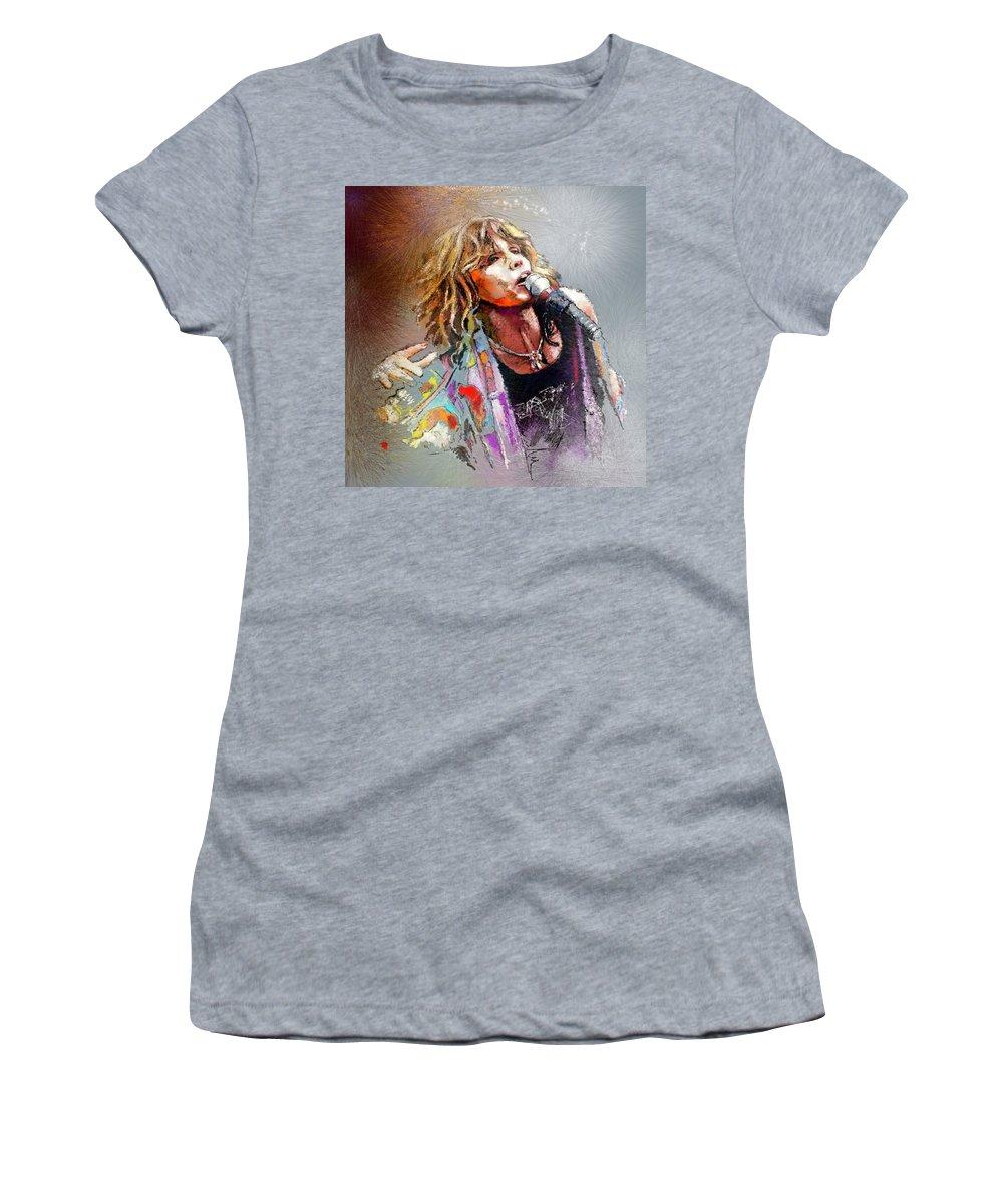 Musicians Women's T-Shirt featuring the painting Steven Tyler 02 Aerosmith by Miki De Goodaboom