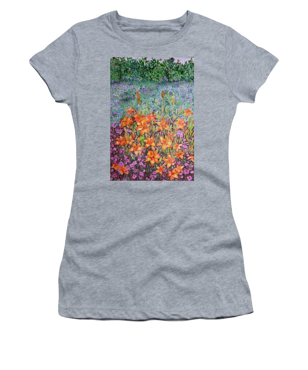 Flowers Women's T-Shirt featuring the painting Still Blooming by Carissa Munoz
