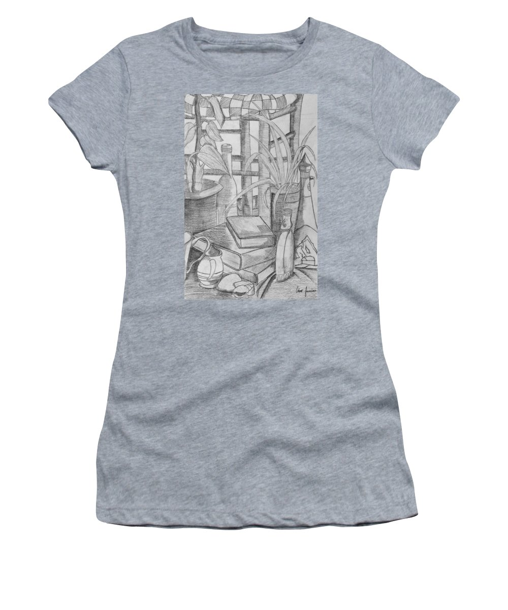 Sketch Women's T-Shirt (Athletic Fit) featuring the drawing Still Life by Ethan Francisco