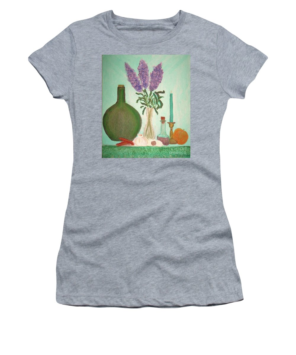 Lilac Women's T-Shirt (Athletic Fit) featuring the painting Still Life With Lilac by Desiree Paquette
