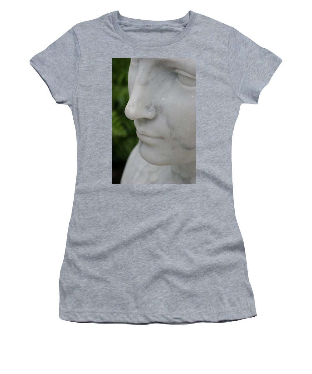 Stone Statue Viscaya Gardens Miami Photography Garden Women's T-Shirt (Athletic Fit) featuring the photograph Stone 3 by Norah Holsten