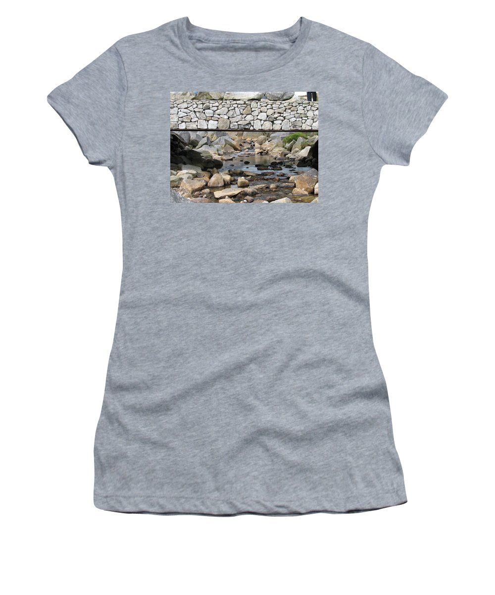 Stone Women's T-Shirt (Athletic Fit) featuring the photograph Stone Bridge by Kelly Mezzapelle