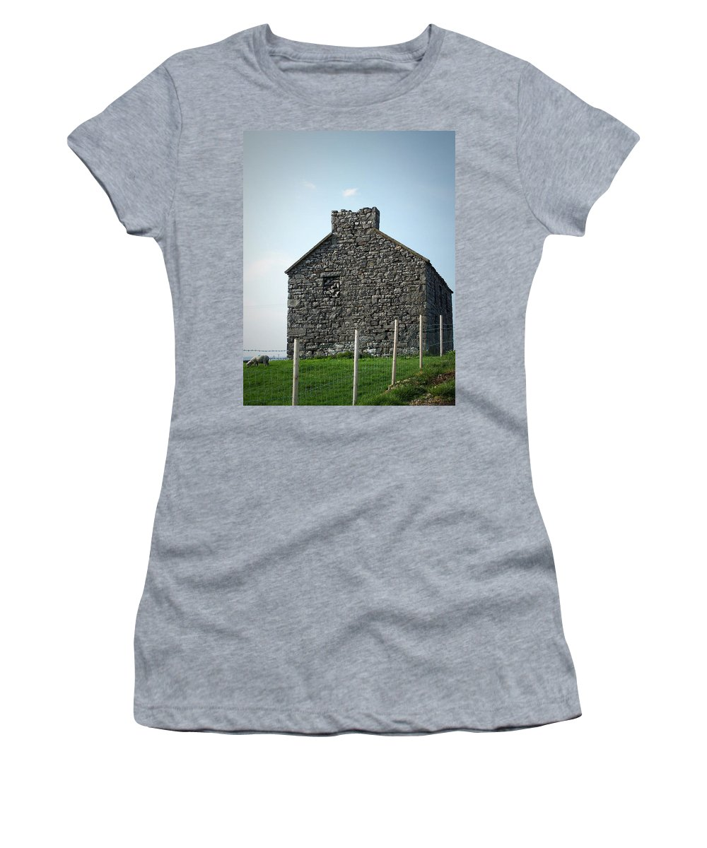 Irish Women's T-Shirt (Athletic Fit) featuring the photograph Stone Building Maam Ireland by Teresa Mucha
