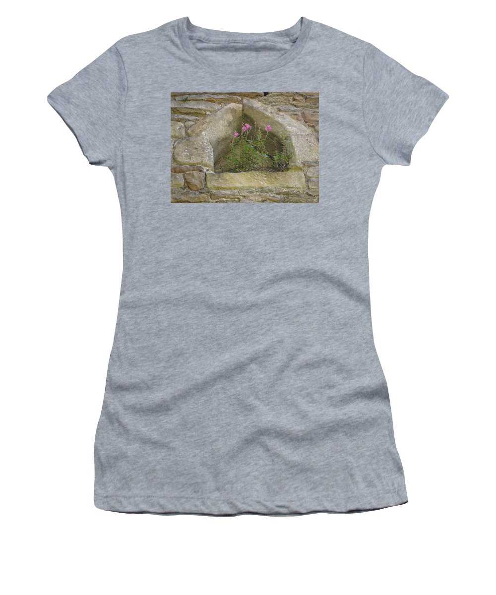 Flowr Women's T-Shirt (Athletic Fit) featuring the photograph Stone Wall Determination by Susan Baker
