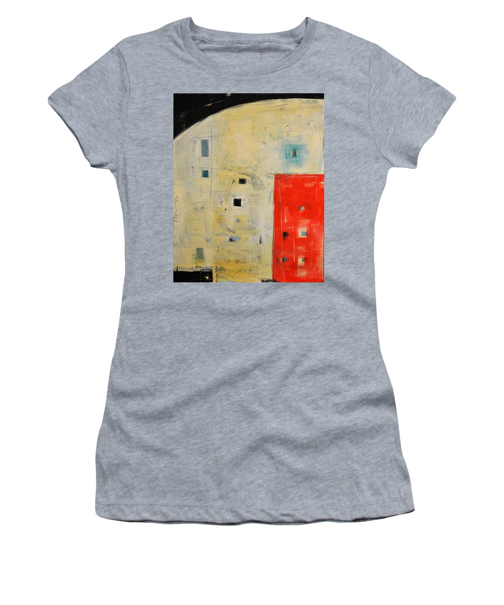 Abstract Women's T-Shirt featuring the painting Storage Shed by Tim Nyberg