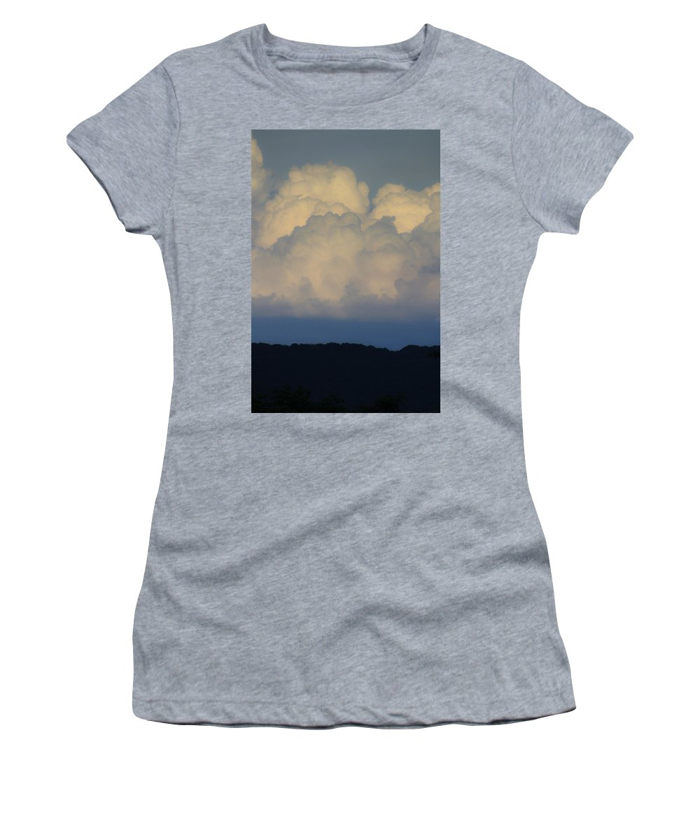 Clouds Women's T-Shirt (Athletic Fit) featuring the photograph Storm At Sunset Bluestone State Park West Virginia by Teresa Mucha