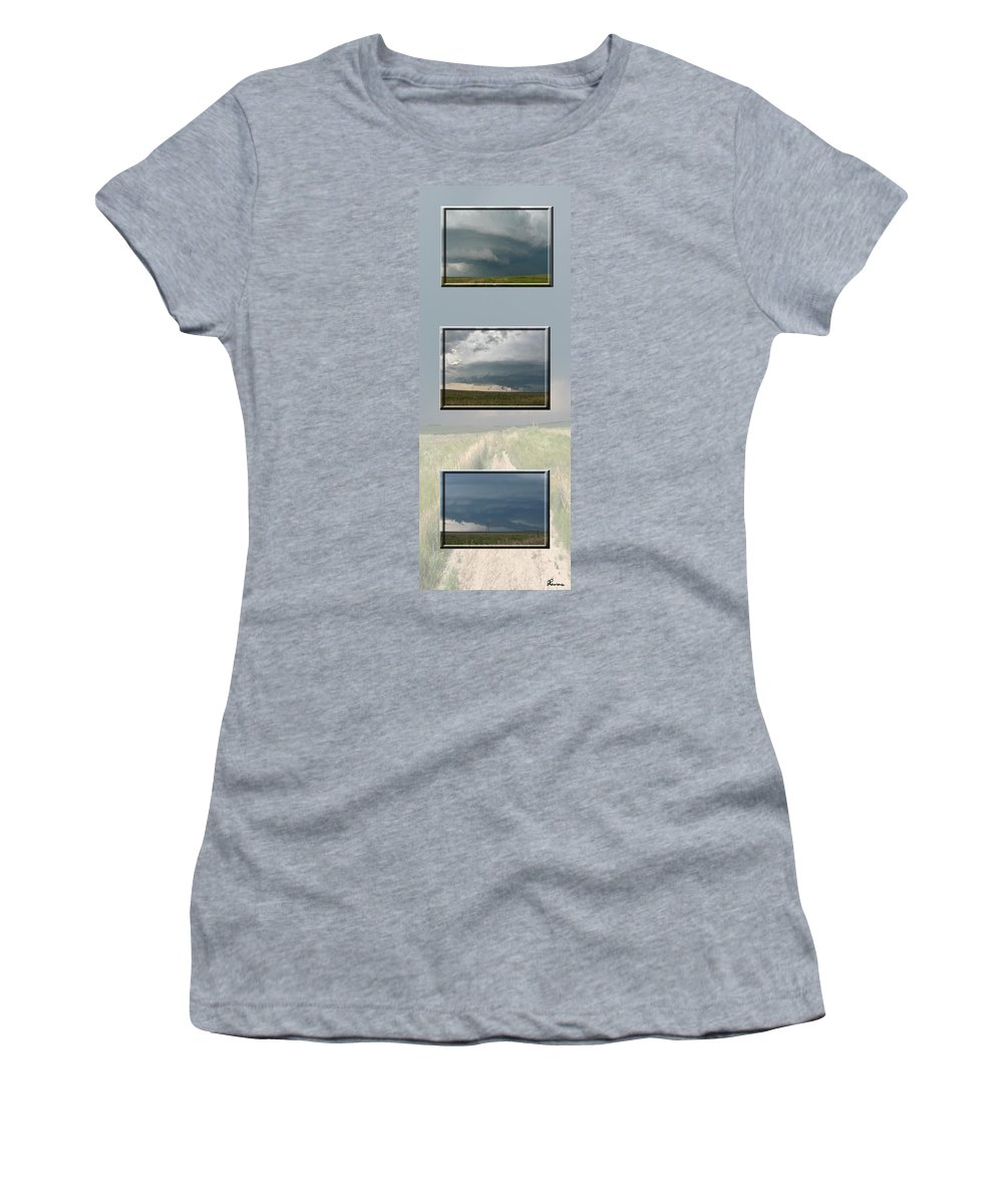 Tornado Strom Weather Rain Thunder Clouds Wind Women's T-Shirt (Athletic Fit) featuring the photograph Storm Collection by Andrea Lawrence