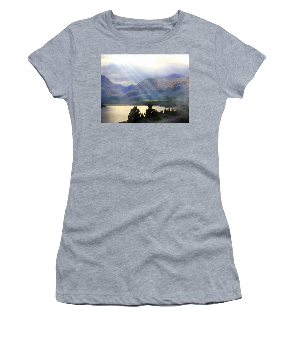 Glacier National Park Women's T-Shirt featuring the photograph Storms A Coming-lower Two Medicine Lake by Marty Koch