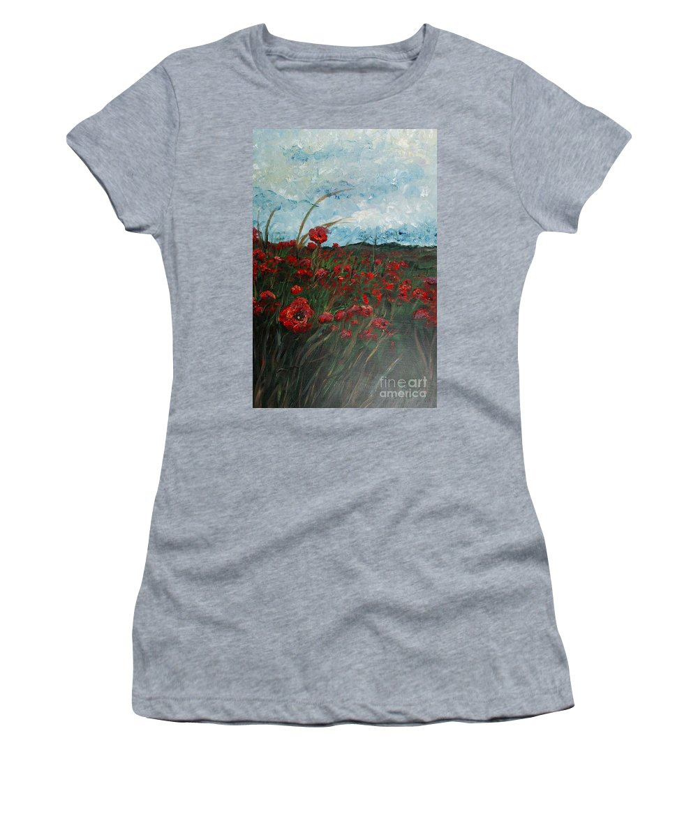 Poppies Women's T-Shirt featuring the painting Stormy Poppies by Nadine Rippelmeyer
