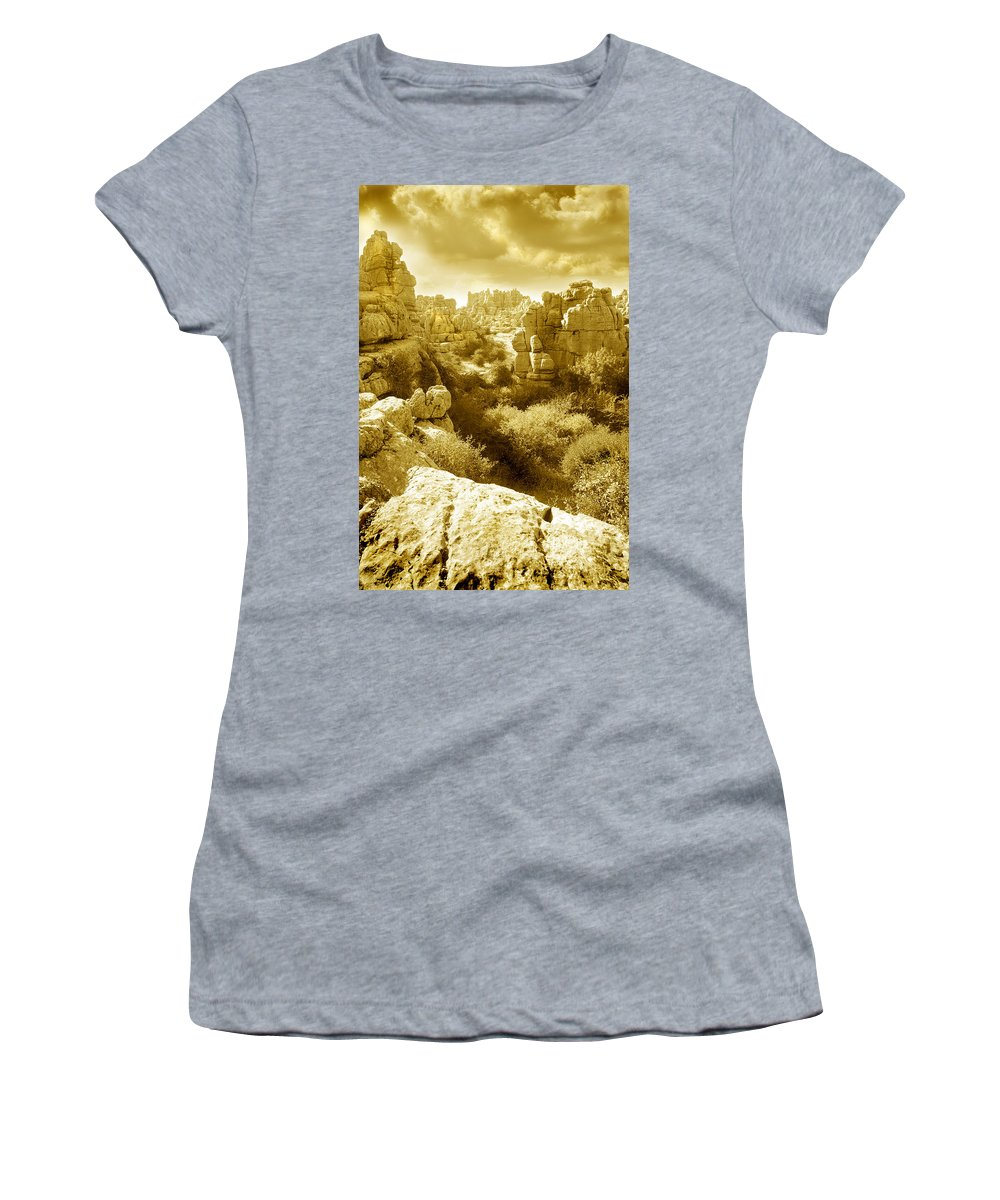 Rock Women's T-Shirt featuring the photograph Strange Rock Formations At El Torcal Near Antequera Spain by Mal Bray