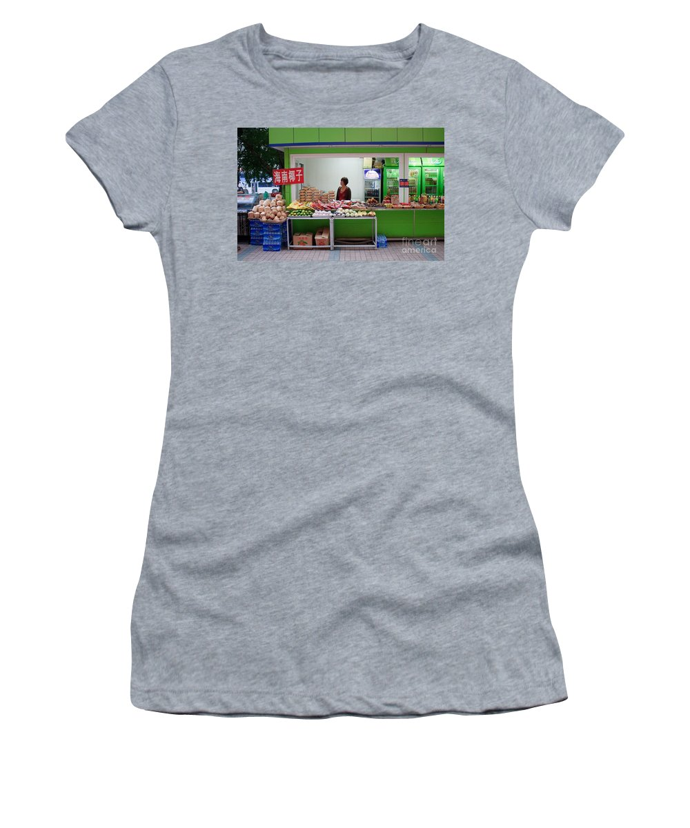 Stand Women's T-Shirt (Athletic Fit) featuring the photograph Street Vendor Beijing by Thomas Marchessault