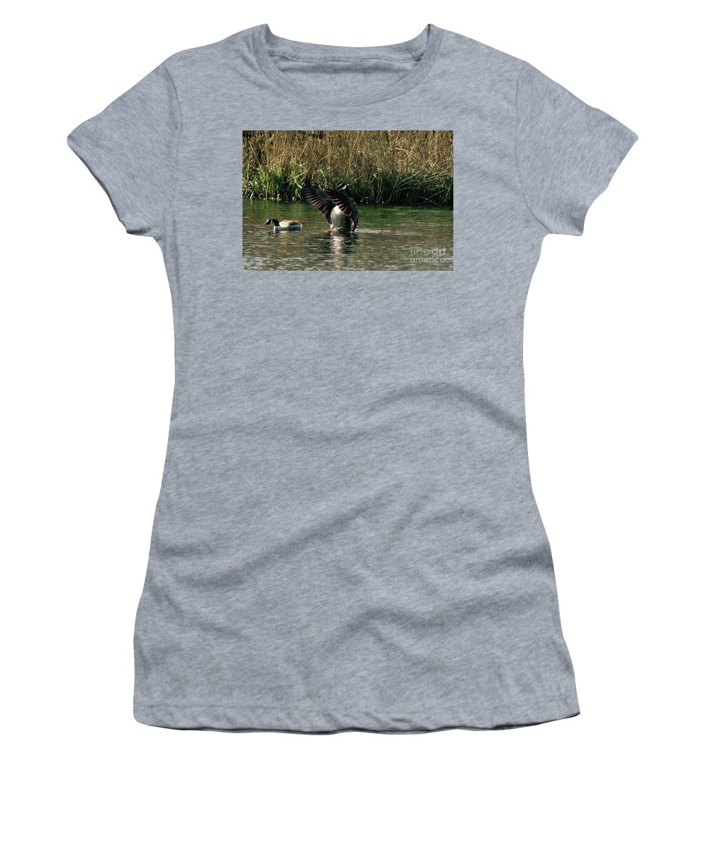 Goose Women's T-Shirt (Athletic Fit) featuring the photograph Stretching My Wings by Hannah Goddard-Stuart