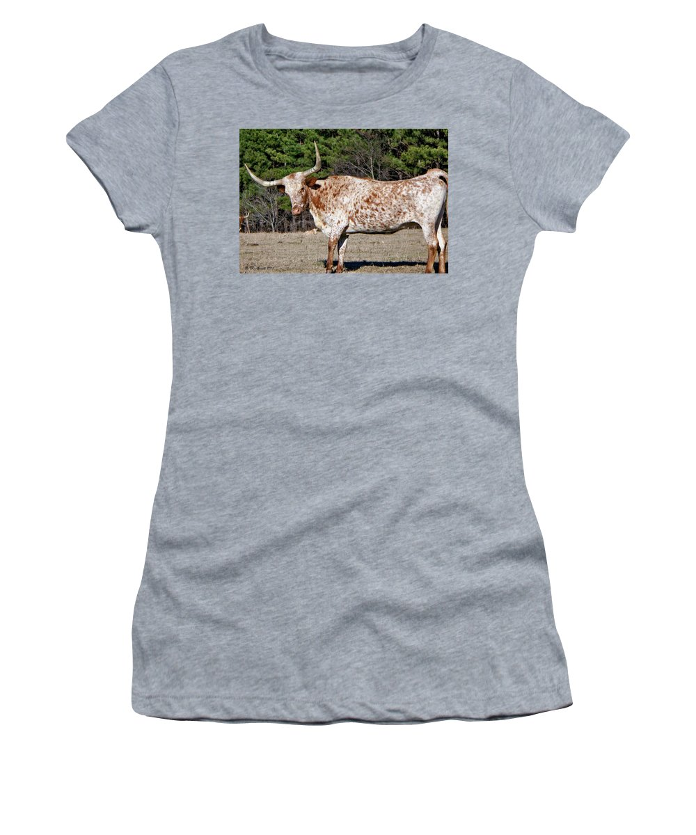 Animal Women's T-Shirt (Athletic Fit) featuring the photograph Strike A Pose - Longhorn Style by Betty Northcutt