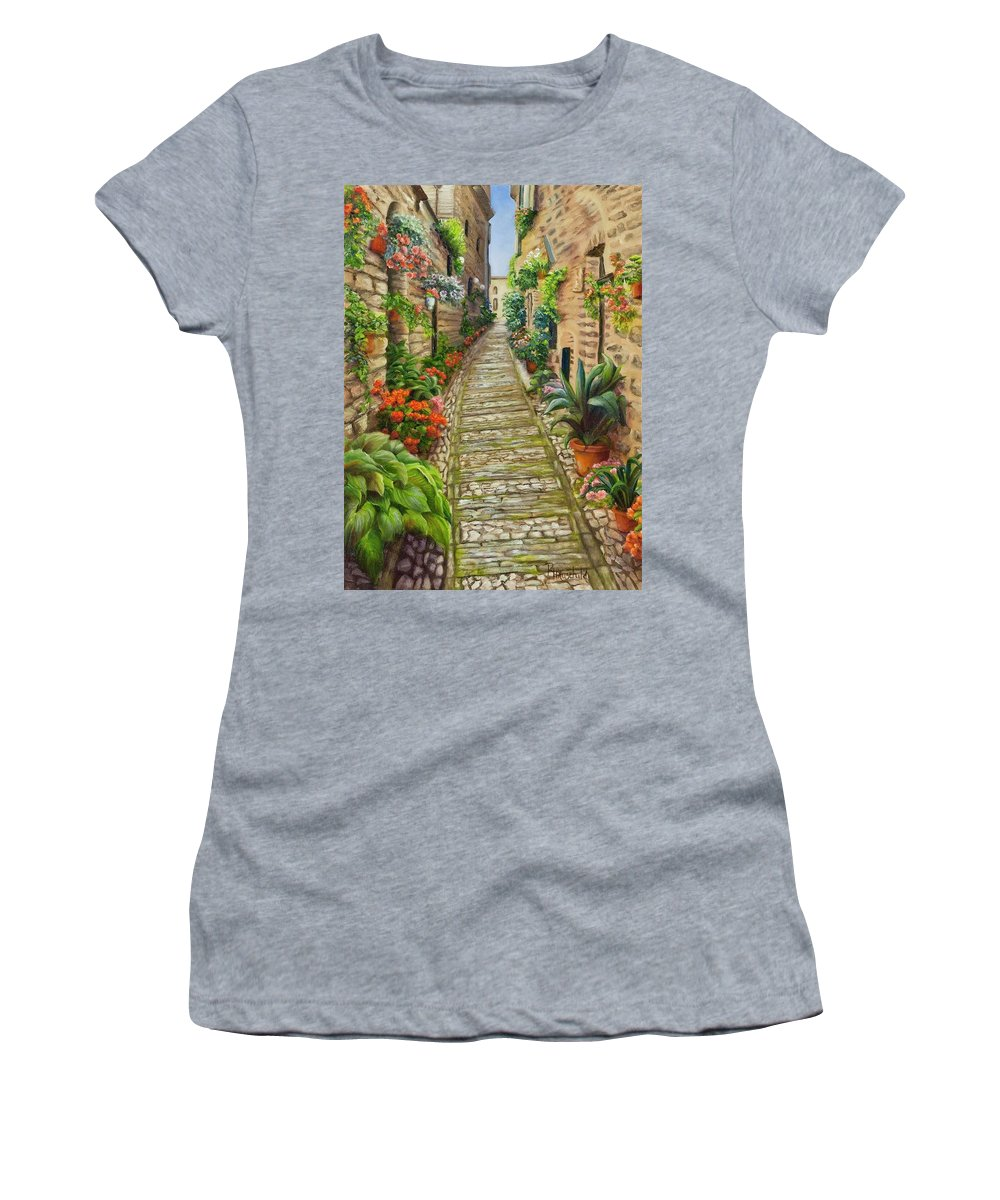 Old Women's T-Shirt featuring the painting Strolling Spello, Italy by Rebecca Hauschild
