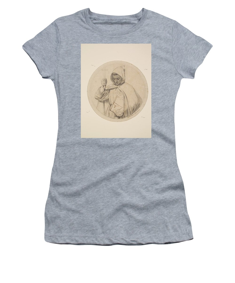 Ford Madox Brown Women's T-Shirt (Athletic Fit) featuring the drawing Study Of Monk Representing The Catholic Faith by Ford Madox Brown