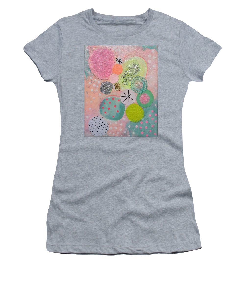 Abstract Geometric Landscape Micro Macro Worlds Circles Ovals Colour Energy Happy Fruity Women's T-Shirt (Athletic Fit) featuring the mixed media Sugar Buns by Karen Mckenzie Williams