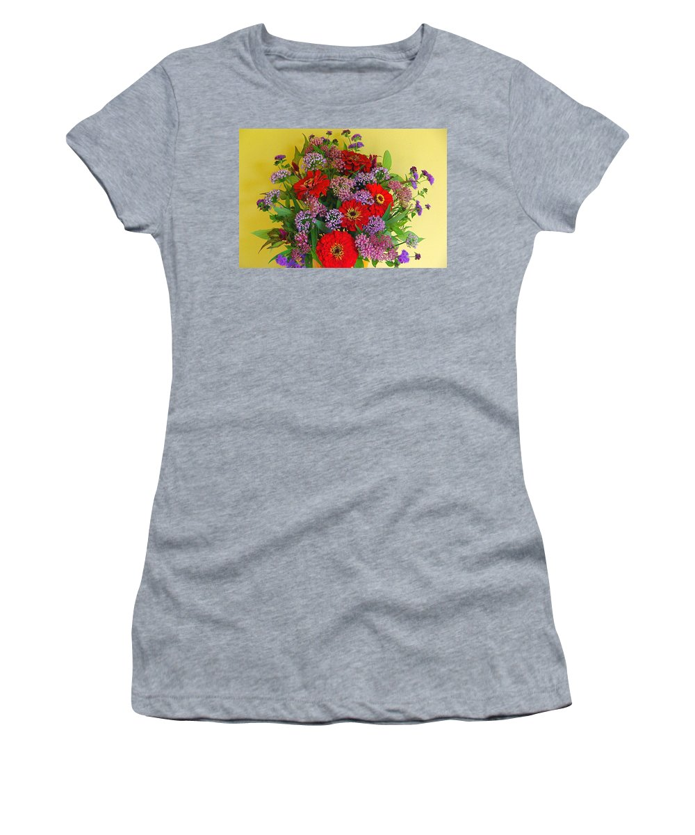 Still Life Women's T-Shirt (Athletic Fit) featuring the photograph Summer Flower Bouquet by Byron Varvarigos