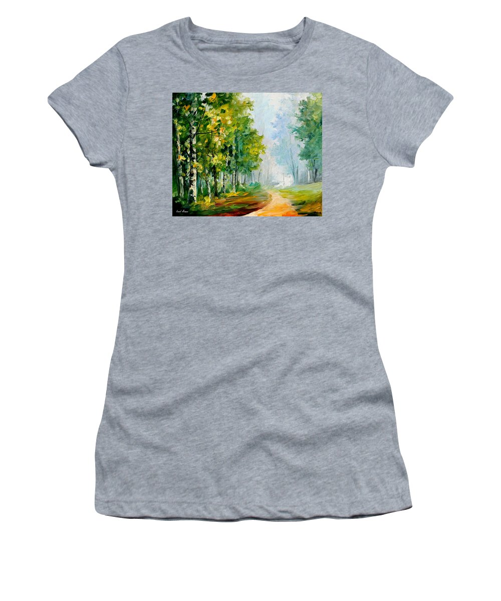 Afremov Women's T-Shirt (Athletic Fit) featuring the painting Summer Forest by Leonid Afremov