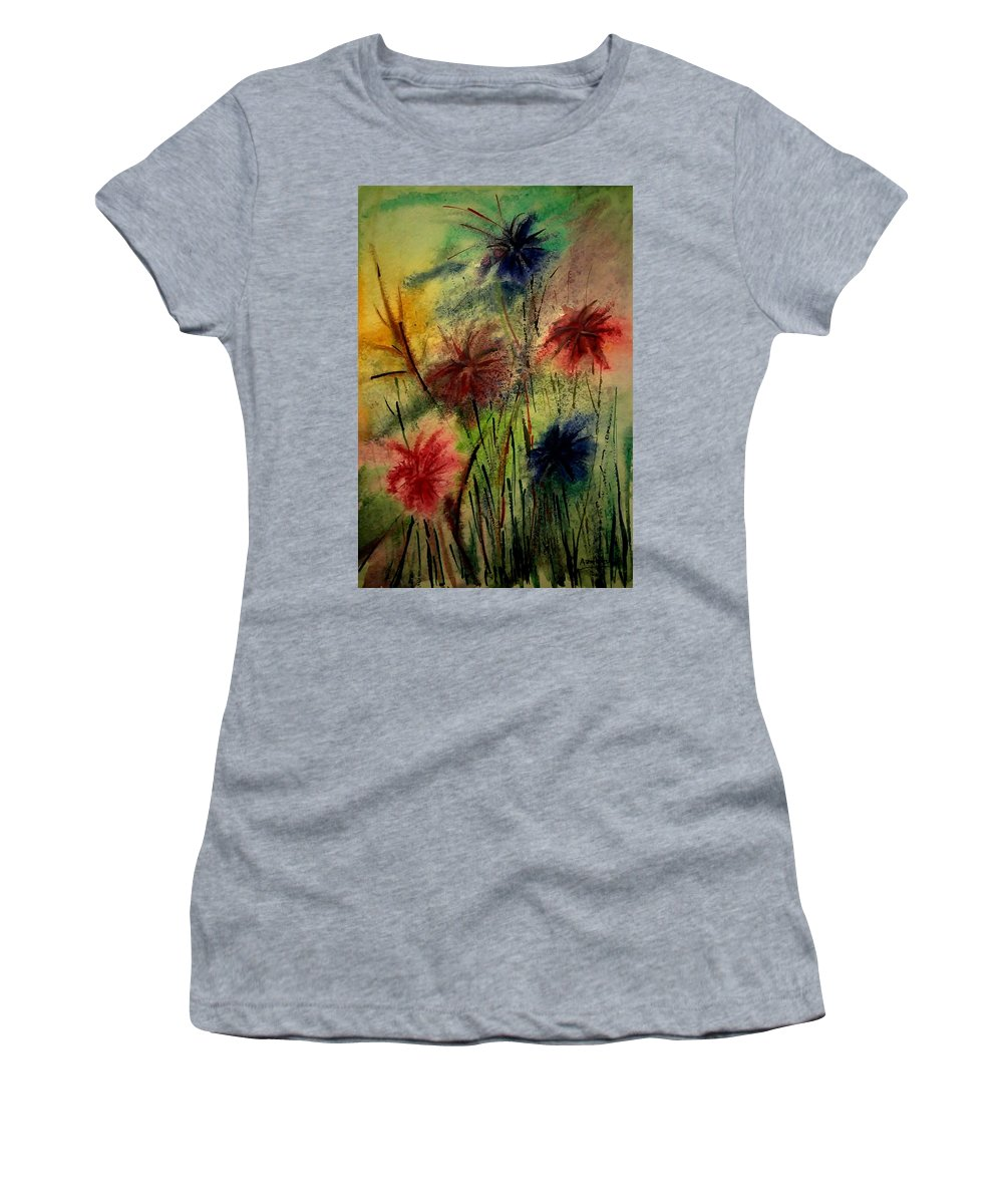 Flower Women's T-Shirt (Athletic Fit) featuring the mixed media Summer In Bloom by Asm Ambia Biplob