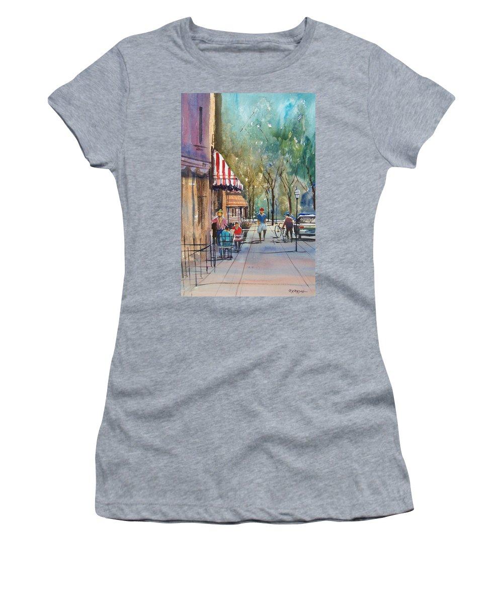 Street Scene Women's T-Shirt (Athletic Fit) featuring the painting Summer In Cedarburg by Ryan Radke
