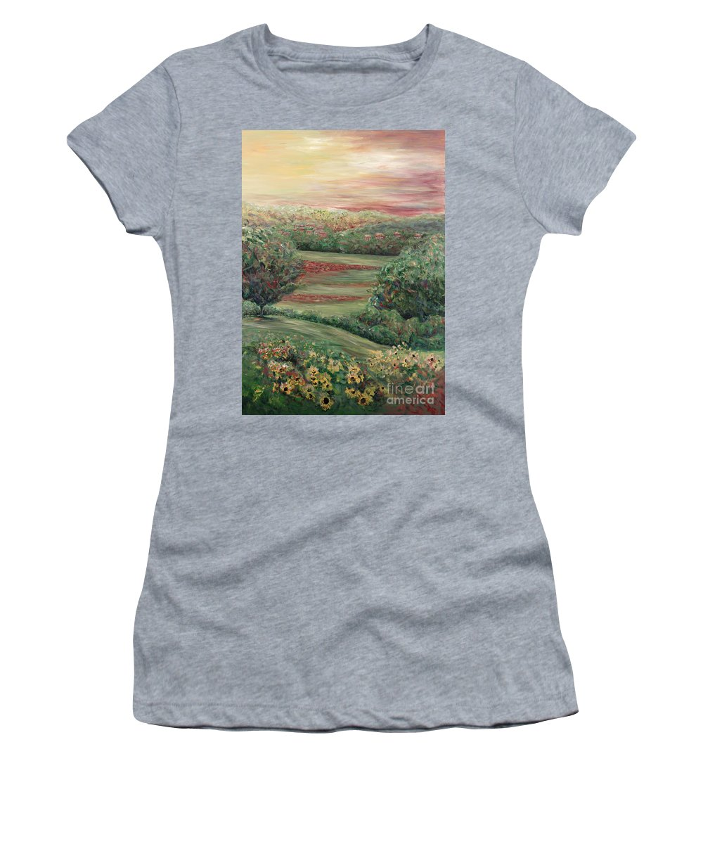 Landscape Women's T-Shirt featuring the painting Summer in Tuscany by Nadine Rippelmeyer